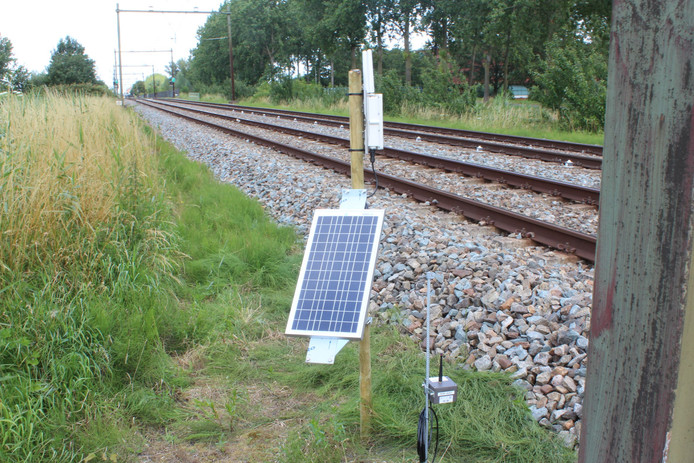 Elke tien minuten meten de sensoren de spoorligging bij Culemborg.
