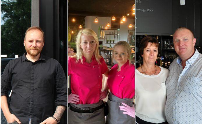 Dieter Degryse (Pizz'Arti), Wendy Vandendriessche en een medewerker van lunchbar Mellon, Ann Denys en Thierry Verschueren (Moeder Jeanne).
