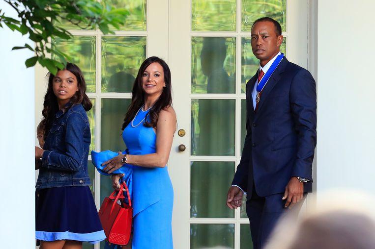 Tiger Woods met centraal vriendin Erica Herman.