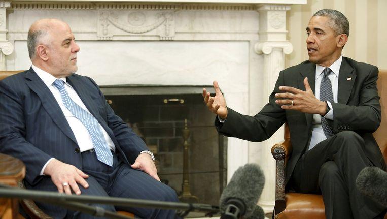 De Iraakse premier Haider al-Abadi (links) op bezoek bij Obama in het Witte Huis. Beeld reuters