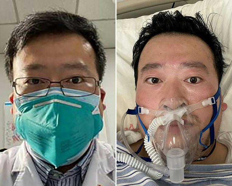 Foto's van de overleden arts Li Wenliang die verbonden was aan het Wuhan Central Hospital. Beeld null