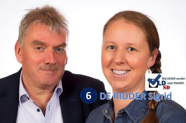 """Sigrid De Ridder trok in oktober nog naar de kiezer met de slogan """"Wij doen verder met Frank""""."""