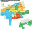 De Haagse uitslagenkaart van de lokale verkiezingen van 2014. In 'klassieke VVD-wijken' als Archipel, Statenkwartier en Willemspark werdenconcurrenten D66 en HSP groter.