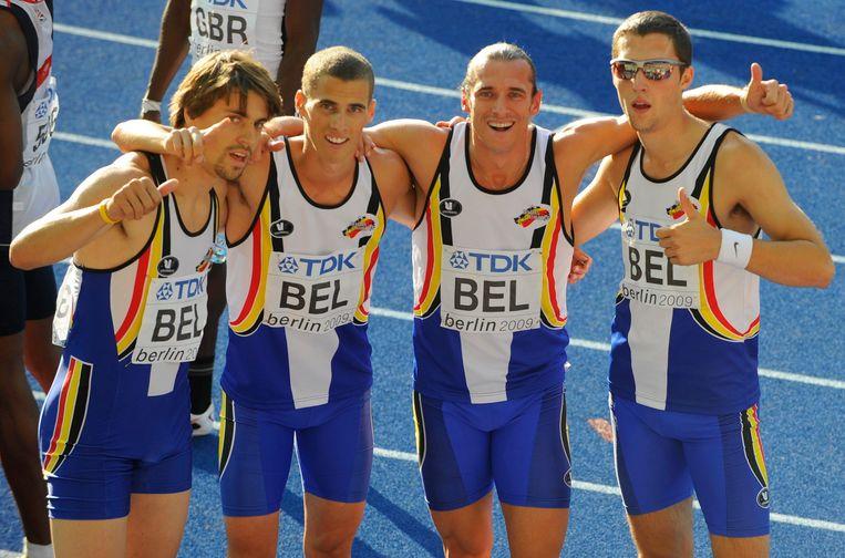 Nils Duerinck, Kevin Borlee, Cedric Van Branteghem en Antoine Gillet.