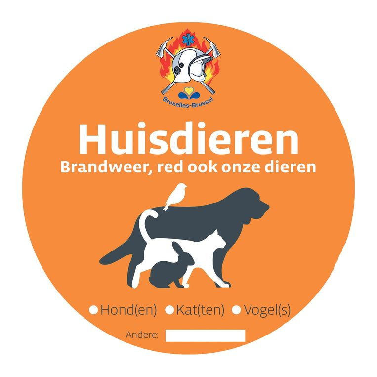 Deze sticker geeft aan dat er ook dieren zijn die gered moeten worden.