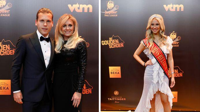 Ruud Vormer et sa compagne (à gauche), Miss Belgique (à droite)