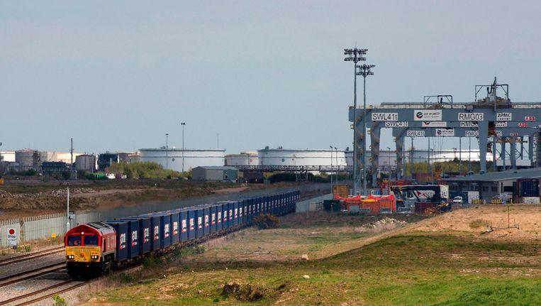 Een vrachttrein vertrekt vanuit London naar de Chinese provincie Zhejiang. Beeld afp