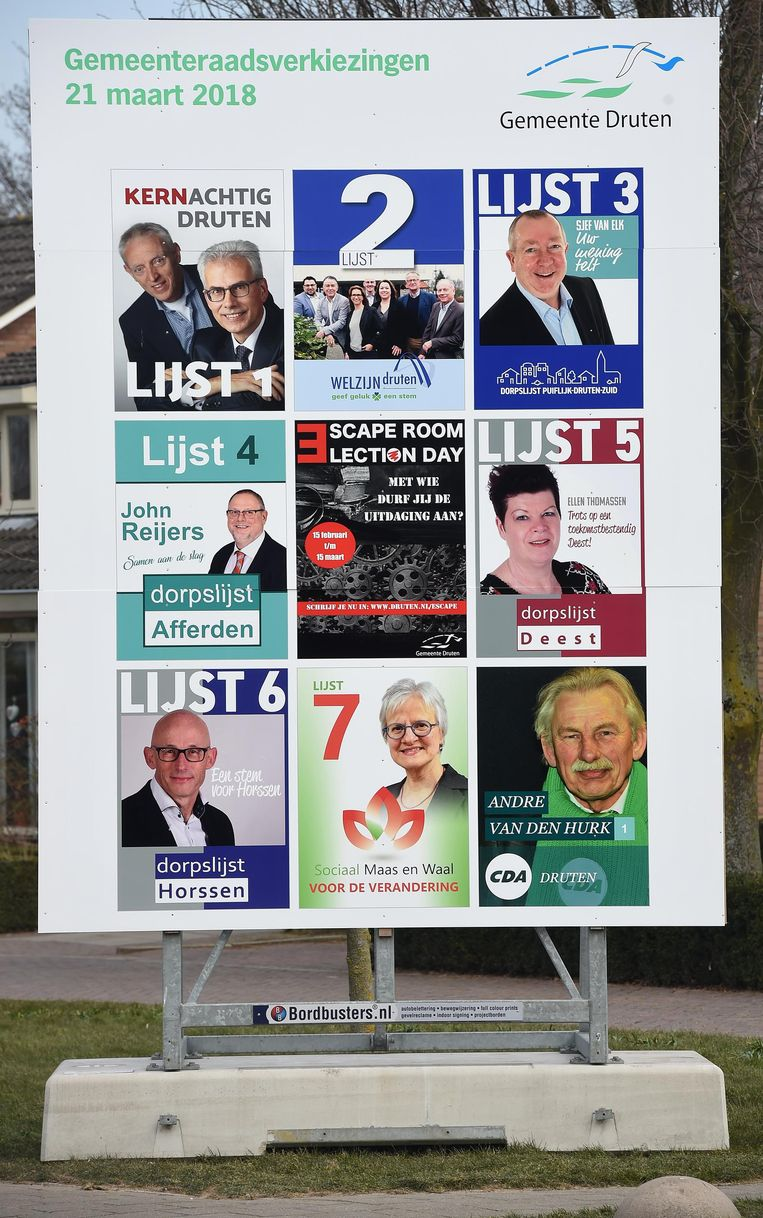 In Druten is de strijd om de kiezer in volle gang. Beeld Marcel van den Bergh
