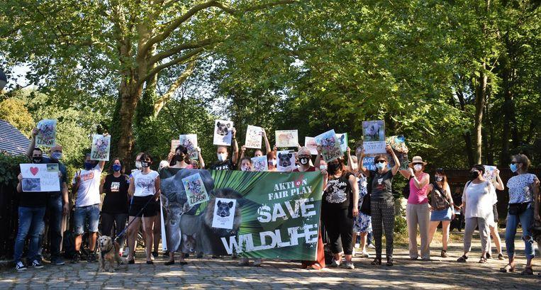 Beeld van de protestactie voor everzwijn Elsa. Beeld Aktion Fair Play Facebook