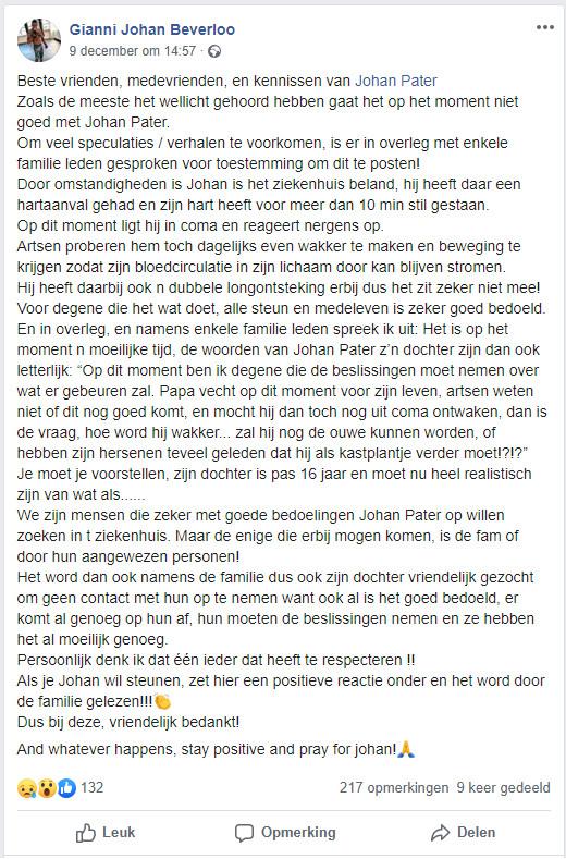 Facebookbericht van Gianni Johan Beverloo, een vriend van Pater. Gianni Johan Beverloo heeft goedkeuring gegeven aan deze krant voor het delen van zijn facebookbericht.