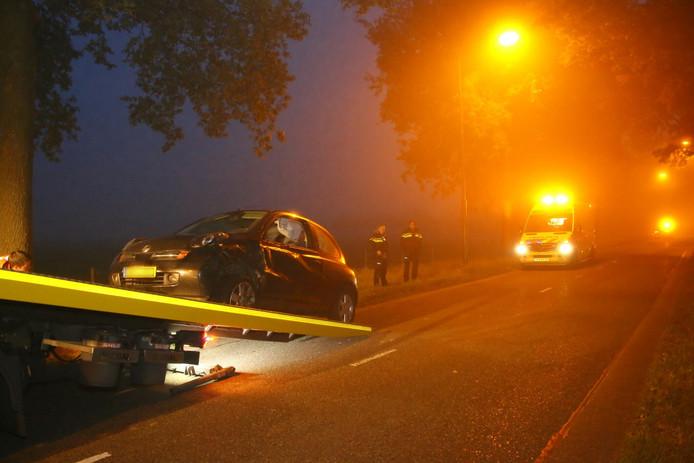 De auto van de vrouw werd afgevoerd.