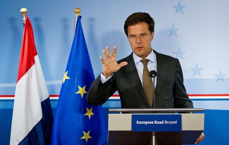 Premier Mark Rutte tijdens de speciale top van de regeringsleiders van de eurolanden in Brussel. Beeld ANP