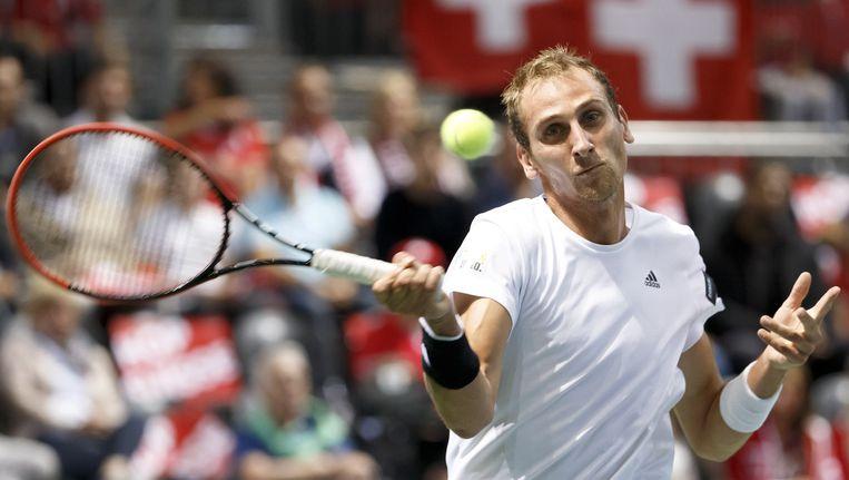Thiemo de Bakker verloor in drie sets van Roger Federer Beeld ap