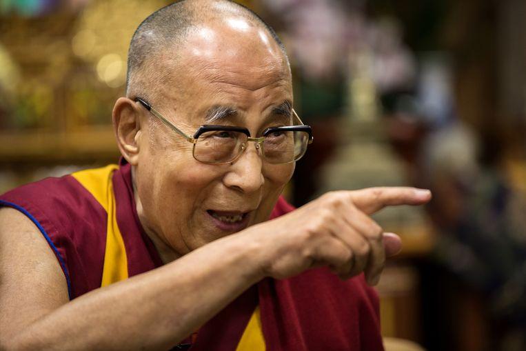 Portret van de 14de Dalai Lama, Tenzin Gyatso, tijdens een interview met Marije Vlaskamp van de Volkskrant. Beeld null