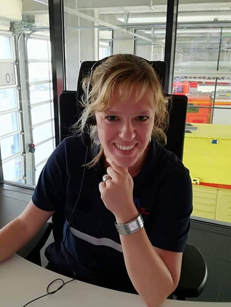 Marijke De Bont in actie bij de brandweer.