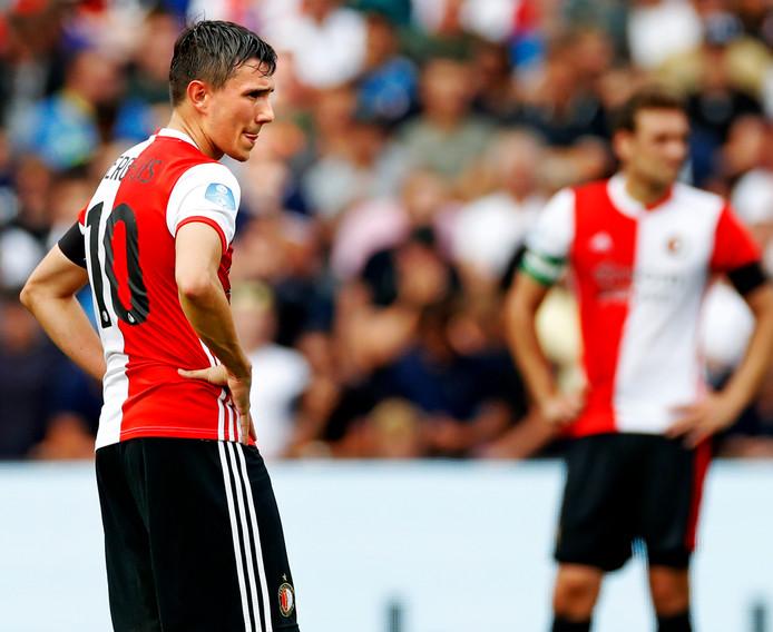 Feyenoord-Sparta seiszoen 2018/2019 Steven Berghuis kijkkt moeilijk. Feyenoord speelt gelijk in de eerste wedstrijd Foto ; Pim Ras