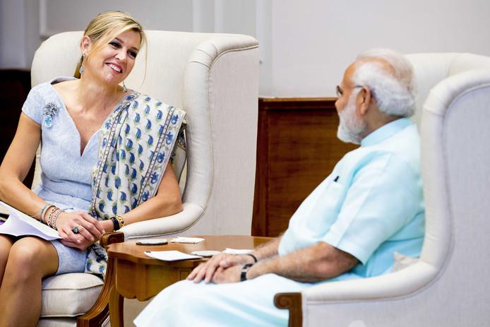 Koningin Maxima tijdens een bezoek aan minister president Narendra Modi.