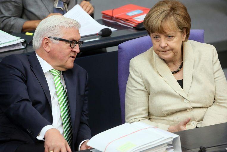 Bondskanselier Angela Merkel met de Duitse Minister van Buitenlandse Zaken Frank-Walter Steinmeier.