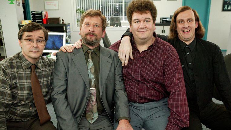 Guido Pallemans (Frank Focketyn), Michel Drets (Dirk van Dijck), Frankie Loosveld (Wim Opbrouck) en Alain Vandam (Tom van Dyck).