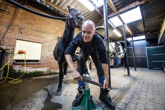 Aan huis beslaat Vincent van der Minnen geen paarden. Zoals veel collega-hoefsmeden bezoekt hij zijn klanten aan huis. Hier is hij in Oudenbosch aan het werk. Foto Marcel Otterspeer/Pix4Profs