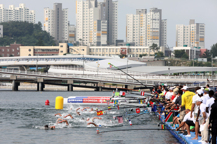 De 10 km open water in Yeosu.