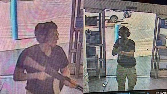 Bewakingsbeelden van Patrick Crusius, die gewapend een WalMart-winkel binnenwandelt.