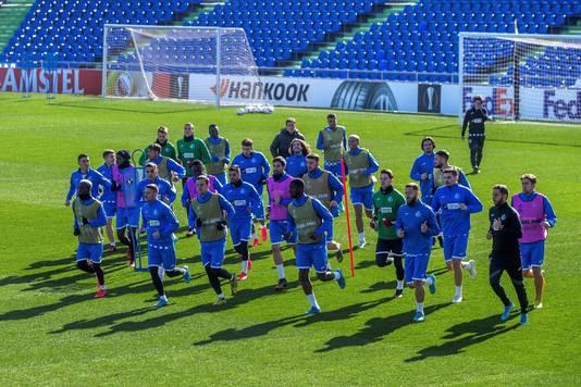 De selectie van Getafe traint een dag voor het Europa League-duel met Ajax.