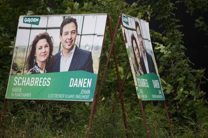 Groen plaats geen nieuwe verkiezingsborden, maar hergebruikt die van 26 mei.