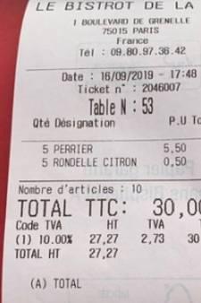 La rondelle de citron facturée 50 centimes dans ce restaurant parisien