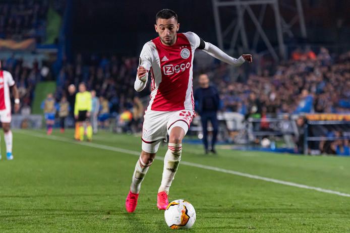 Hakim Ziyech in actie tijdens Getafe - Ajax (2-0) afgelopen donderdag.