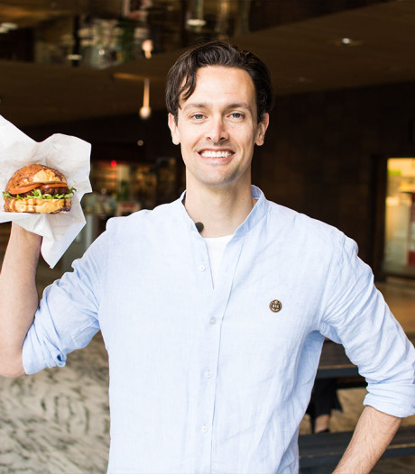 Vegetarische fastfood-burgers op station Breda