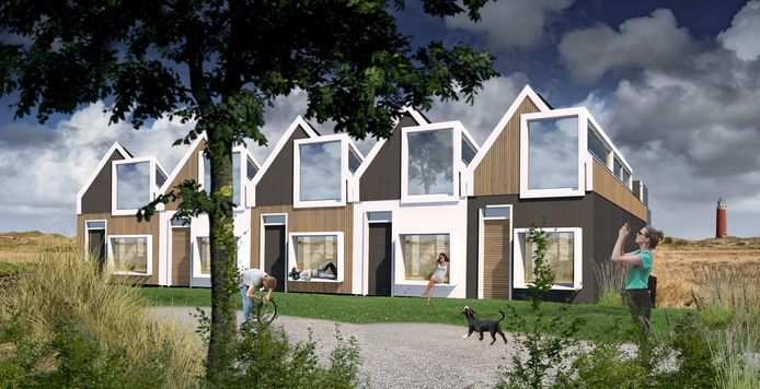 Een illustratie van de tijdelijke huizen die het Utrechtse bedrijf PlekVoor op Texel gaat neerzetten.