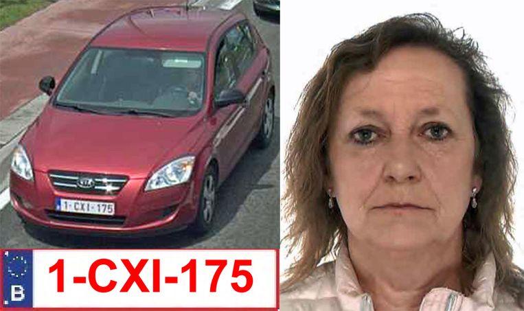 Myriam Bruwier verplaatst zich met een rode KIA Ceed met nummerplaat 1-CXI-175.