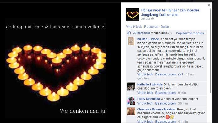 De Facebookpagina 'Hansje moet terug naar zijn moeder'