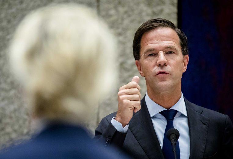 De premier tegenover Geert Wilders in de Tweede Kamer. Beeld anp