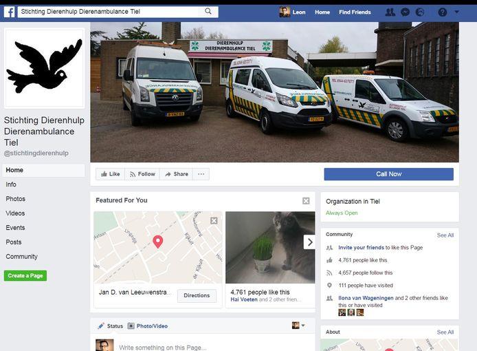 De Facebook-pagina van de Stichting Dierenhulp Dierenambulance Tiel.
