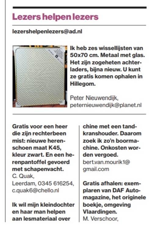 De advertentie die Nel Quak uit Leerdam opstuurde aan de rubriek Lezers helpen lezers.
