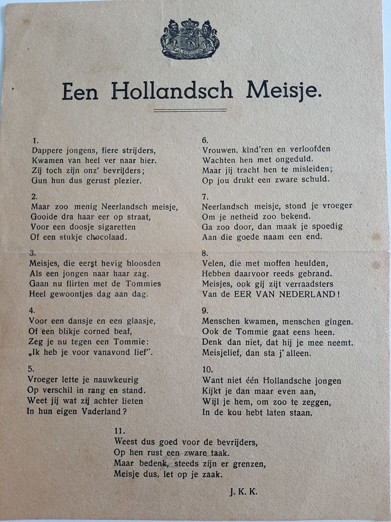 Versje dat na de bevrijding de ronde deed in Nederland. Beeld
