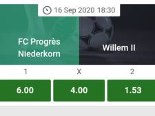 Bookmakers: Willem II is torenhoog favoriet in Luxemburg