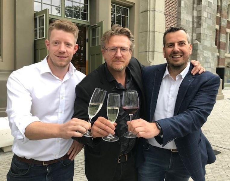 Vlnr Stefan Frissen (Winefair) Wim Croonen (Partaasch) en Kris Teppers (M@G)