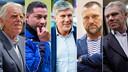 Vlnr: Leo Beenhakker, Henk Fraser, Cor Pot, John de Wolf en Wim Rijsbergen.