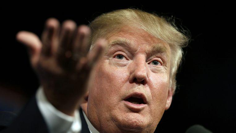Donald Trump op campagne in Des Moines, Iowa. Beeld ap