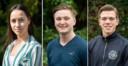 Vlnr Gamza Celik, Flemming Holstein en Jasper Zoutman gaan naar het Nationaal Jeugddebat.