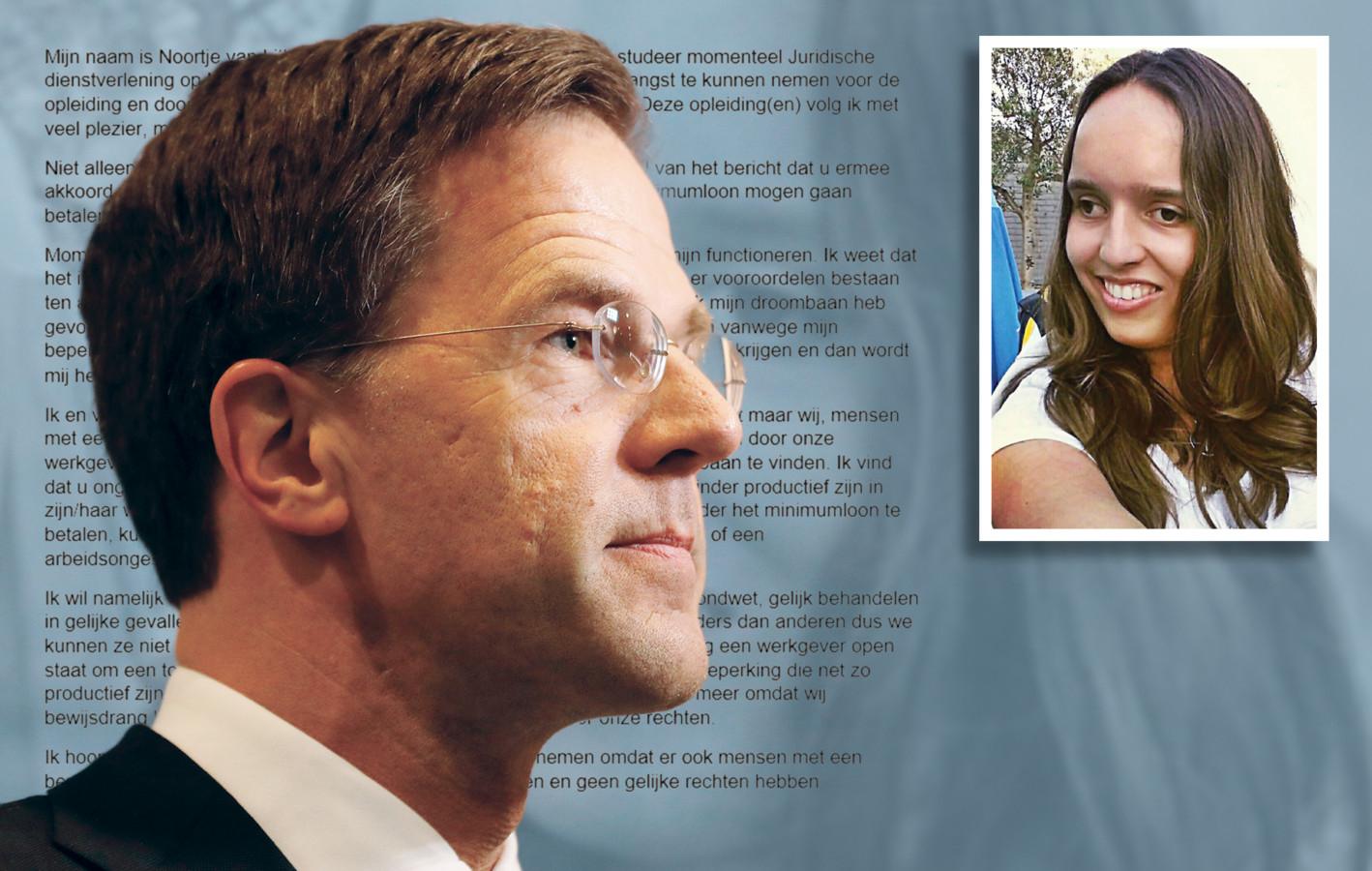 De 21-jarige Noortje van Lith uit Roosendaal schreef een persoonlijke brief aan premier Rutte.