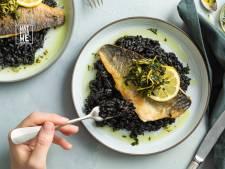 Wat Eten We Vandaag: Risotto nero met zeebaars en gremolata