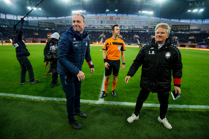 Gent's head coach Jess Thorup and Antwerp's head coach Laszlo Boloni reacts during a soccer match between KAA Gent and Royal Antwerp FC, Saturday 13 April 2019 in Gent, on day 4 (out of 10) of the Play-off 1 of the 'Jupiler Pro League' Belgian soccer championship. BELGA PHOTO JASPER JACOBS