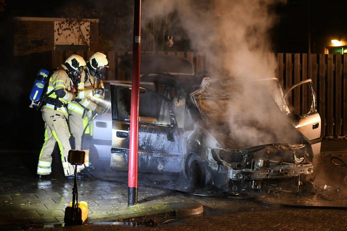 Ondanks snel optreden van de brandweer was de auto op de Pallasburg niet meer te redden.
