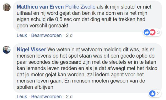 Reacties op Facebookbericht Politie Zwolle