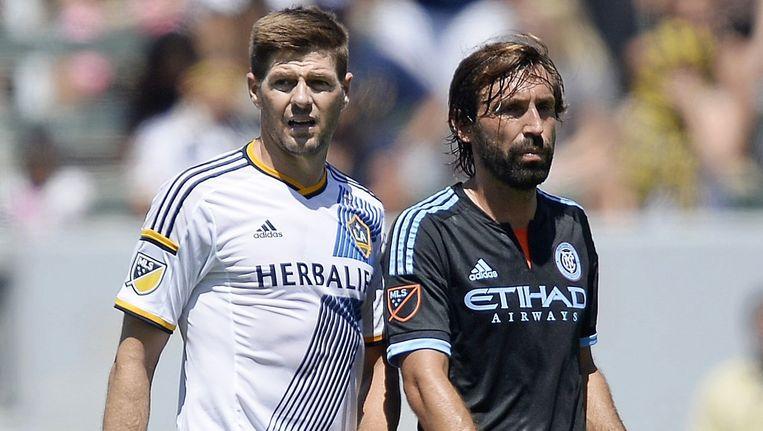 Twee Europese grootheden als tegenstanders van elkaar in de Amerikaanse competitie. Gerrard namens LA Galaxy, Pirlo als speler van New York City.