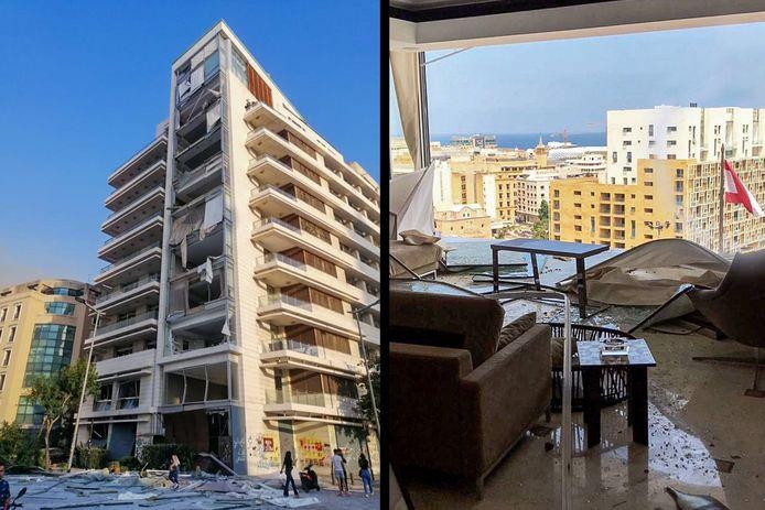 De verwoeste appartementen in Beiroet van de familie Laham uit Vianen.
